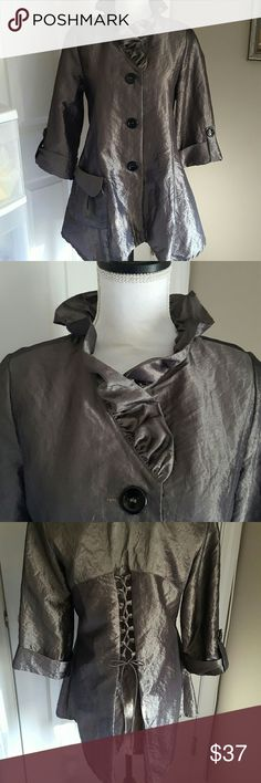 Y&S Silver Jacket/ Top Y&S 3/4 sleeve. Silver. Ruffled Collar. Large Pocket  Great back lace detailing. Never Worn  Tag states S but fits M also Y&S Tops