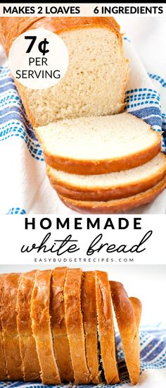 This Homemade White Bread Recipe simply the best and my family devours it Luckily this recipe makes 2 large loaves and costs 2 34 to make That s just 7 per serving via easybudgetrecipes Best Bread Recipe, Easy Bread Recipes, Baking Recipes, Homemade White Bread, Homemade Breads, Breakfast Recipes, Dessert Recipes, Dessert Bread, Sans Gluten