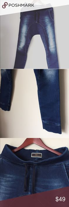ZARA jeans. Wide on top, narrow at the bottom blue Like new condition. Very stylish and unique. Very high quality. Heavy jeans material. Washed out. Nice dark blue color. String. Can fit Small. Zara Jeans