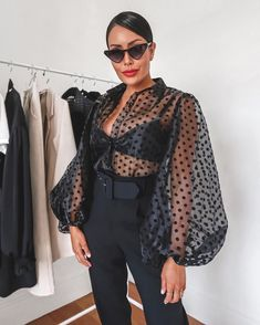 Sheer Polka Dot Organza Blouse Top Black (With images) Classy Outfits, Stylish Outfits, Mode Instagram, Fashion 2020, Fashion Trends, Uk Fashion, Latest Fashion, Moda Chic, Moda Plus Size