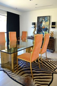 Mimosa Lane: Interior Design || Tompkins Lloyd Interiors, mastercraft, brass chairs, zebra rug