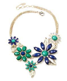 Turquoise & Lapis Della Floral Bib Necklace