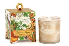 Our handmade, all-natural candles are 100% soy wax, a renewable resource that's nontoxic, biodegradable, and burns clean. Each candle comes in a printed glass container packaged in a footed box with a wooden ring pull and gold foil accents. 6.5 oz. / 184 g. 45-hour burn time.
