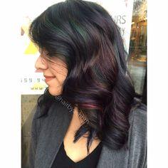 Oil Slick Hair @HAIRBYASHHM Oil Slick Hair Color, Curly Hair Styles, Natural Hair Styles, Hair Colour Design, Color Your Hair, Hair Affair, Hair Today, Hair Dos, Balayage Hair