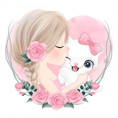 Cute girl kissing a little kitty with wa... | Premium Vector #Freepik #vector #watercolor #floral #baby #hand Watercolor Illustration, Floral Watercolor, Watercolor Girl, Bear Illustration, Cute Animal Drawings, Cute Drawings, Cute Images, Cute Pictures, Cute Cartoon Girl