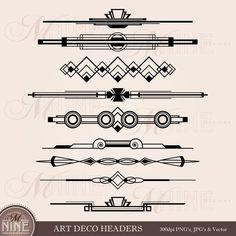 ART DECO encabezado Clip Art: Rúbrica acento gráfico   Etsy Arte Art Deco, Moda Art Deco, Estilo Art Deco, Simbolos Tattoo, Night Tattoo, Graphic Pattern, Pattern Art, Art Nouveau, Muebles Art Deco