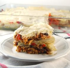 High Protein Filo Lasagna With Roasted Veggies | http://holycowvegan.net/2015/02/high-protein-filo-lasagna.html