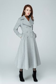 grey coat, long coat, trench coat, wool coat, double breasted coat, swing coat, maxi coat, winter coat, gift for her, cashmere coat  1606
