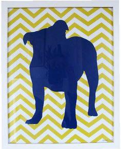 Silhouette Bulldog Chevron Print