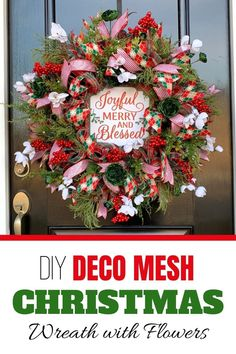 Learn how to make a deco mesh Christmas wreath with premium artificial flowers from Julie, owner of Southern Charm Wreaths.  The free tutorial consists of Instructions and a VIDEO demonstration that will guide you through the process of how to make beautiful deco mesh wreaths.