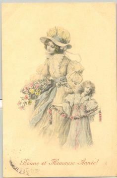 MA128 MM VIENNE Nr 237 MERE & FILLETTE FLEURS MOTHER & DAUGHTER