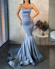 SPAGHETTI STRAPS SATIN MERMAID PROM   burgundypromdress Mermaid Prom Dresses, Spaghetti Straps, Perfect Fit, Custom Made, Moonlight, Satin, Formal Dresses, Color, Outfits