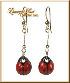 French Porcelain Ladybug Earrings Limoges Jewelry by Beauchamp www.LimogesBoxCollector.com