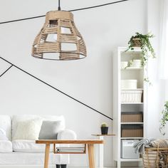 Ceiling lamp Yute with decorative rope lampshade twisted in certain areas of the lampshade. It will give an ambient lighting through the ropes. Ceiling Lamp, Ceiling Lights, How To Make Rope, Light Effect, Bedroom Lighting, Fashion Room, Cool Lighting, Light Decorations, Rustic