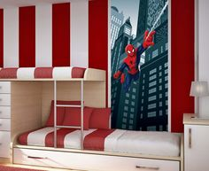 Marvel Spiderman Kids Wall Mural or Door Mural by WallandMore!  Free Shipping Worldwide! Great for Boy's Bedroom.