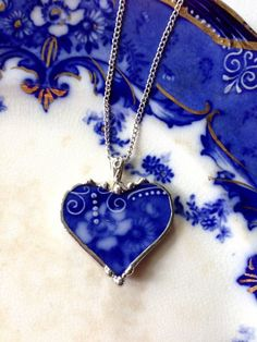 Beautiful antique Flow Blue heart pendant. Rose broken china by dishfunctionldesigns