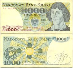 1974 series Polish 1000-złoty banknote, featuring Nicolaus Coperinicus on the obverse side, and his heliocentric system on the reverse side.
