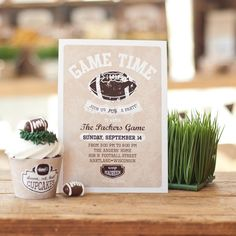 Vintage Football Party Printable Invitation - Neutral to match any team!