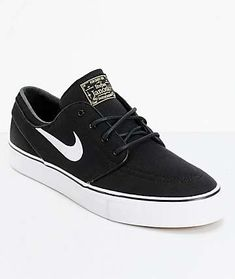 29b8185e1669 Nike SB Janoski Black   White Canvas Skate Shoes Nike Sb Shoes