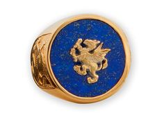 Lapis Griffon Ring And Lion of Scotland  Gold Plated by Regnas