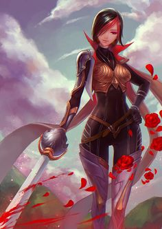 league of legends fiora laurent 1girl armor bangs belt black hair blood bodysuit boots brown eyes flower hands on hips holding weapon petals rose shengxie short hair smile solo sword weapon