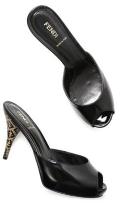 Fendi black patent open toe heels with wooden heel on sale now! BNWT!