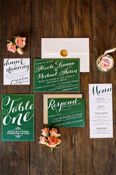 Emerald green wedding stationery - we love the calligraphy! | via The Styled Bride