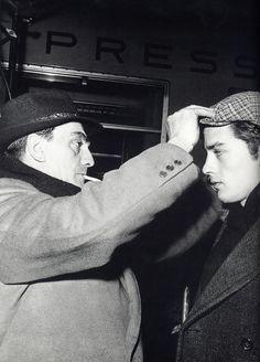"""Luchino Visconti and Alain Delon on the set of """"Rocco e i suoi fratelli"""""""