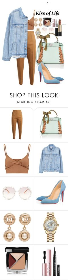 """Blue"" by matousadiya on Polyvore featuring Jil Sander, Fendi, MANGO, Chloé, Christian Louboutin, Chanel, Rolex, Too Faced Cosmetics and Estée Lauder"