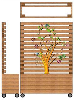 Ritning planteringslåda med spalje