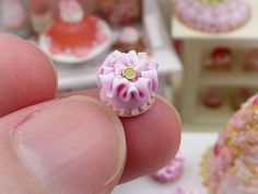 Pink Baby Ruffle Cake Miniature French Pastry by ParisMiniatures
