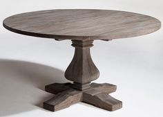 Reclaimed Wood Dining Pedestal Table with Round Top - Item #DT00441 - Custom Sizes & Finishes Available
