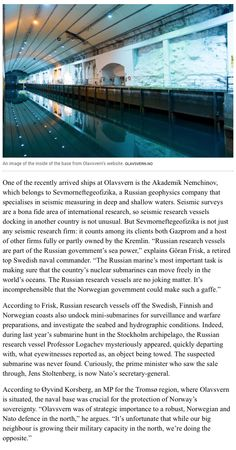 B1 - Newsweek, 19 March, 2015: The Secret Norwegian Submarine Base Being Rented by the Russians, by Elisabeth Braw.