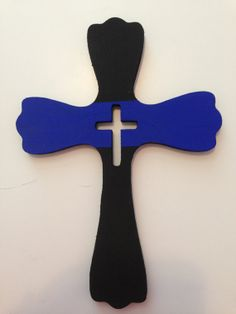 Hand Painted Thin Blue Line Wood Cross, Police Cop LEO Law Enforcement Fallen Officer Crest