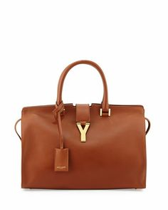 Classic Cabas Y-Ligne Leather Carryall Bag, Tan by Saint Laurent at Neiman Marcus.