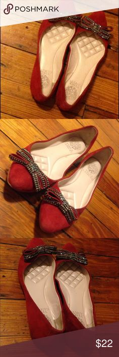 Red Vince Camuto Flats Gently Used Red Bow Bedazzled Flat Size 7 No Signs Of Harsh Wear Vince Camuto Shoes Flats & Loafers
