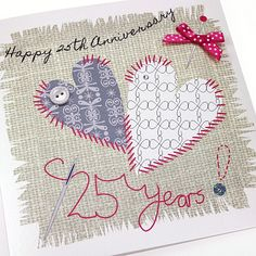8 best mom dad 25th anniversary research images on pinterest mom handmade silver anniversary card stitched hearts button bow needle patchwork appliqu happy 25th anniversary 25 years m4hsunfo