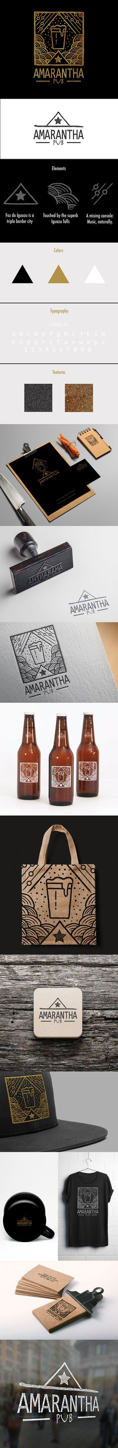 Amarantha Pub Brand Design. Amarantha Pub is a cherished bar in Foz do Iguazu, Brazil, which is a city well-known for being triple bordered. It unites Brazil, Argentina and Paraguay, and has a multi-ethnic crowd mixed with those who visit wishing to feel the energy of the superb Iguazu Falls.   So the Brand Design expresses the conviviality of both The Amarantha Pub and its city. https://www.behance.net/gallery/50684779/Amarantha-Pub-Brand-Design