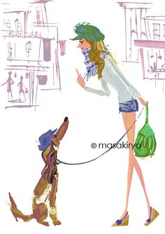 Girls with dog, Illustration by Masaki Ryo