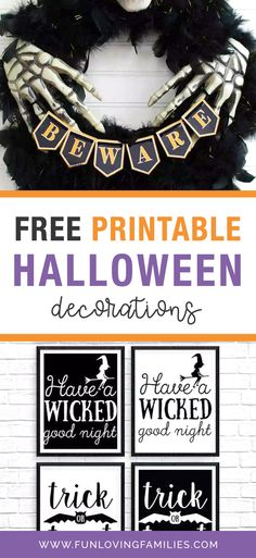 Halloween decorating is so easy with these free printable Halloween decorations. Grab an entire set of Halloween art prints that you can download and print at home! #halloween #halloweencraft #halloweendiy #crafts #kidscrafts #kidsactivities #activities #craftideas #funforkids Printable Halloween Decorations, Diy Halloween Home Decor, Halloween Craft Activities, Fun Halloween Treats, Halloween Party Favors, Halloween Drinks, Halloween Kids, Halloween Crafts, Fun Loving