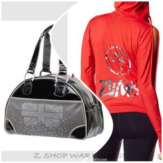 ZUMBA FITNESS~ 2 PIECES! LONDON LOVE bowler BAG ~ Sexy Cold Shoulder HOODIE!  M  #ZUMBA #ShirtsTops