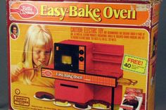 "Easy Bake Oven The Easy Bake Oven was for every little girl who wanted to have a kitchen just like Mom's. It came in the same ugly kitchen colors of the 70s, too (YES! mine was ""avacado green"")"