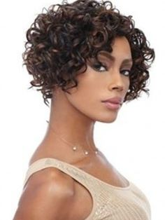Short Bob Curly #1B/30 Hairstyle for African American Women Front Lace Remy Human Hair Wig about 10 Inches