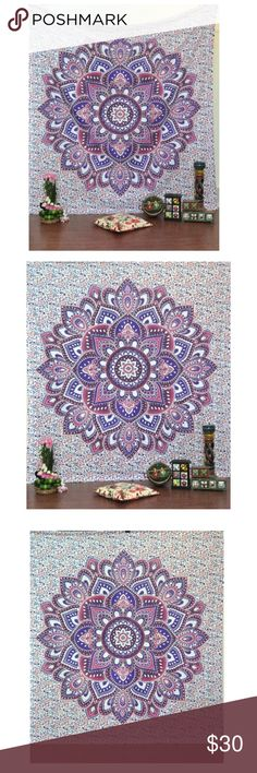Ombre Mandala Hippy Hippie Wall Hanging Wall Fabric: 100% Cotton Fabric, Screen Printed Design. Perfect for Gift - A Beautiful Home Decor Piece, Makes a Great Gift, Beautiful Wall Hanging, Dorm Divider , Beach Cover Up , Bedsheet Double Queen size approx 89X85 inches CARE: Dry Cleaning Or Cold Water Wash Authentic Print by JaipurHandloom Other
