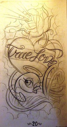 pattern tattoos meaning True Love Tattoo, Love Tattoos, Body Art Tattoos, Flash Art Tattoos, 1 Tattoo, Tattoo Outline, Ambigram Tattoo, Roots Tattoo, Graffiti Alphabet
