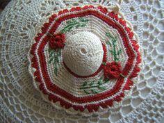 1940's Crocheted Hat Potholder with Flowers by Glasscreekstudio, $5.95