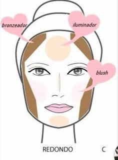Continuando com as dicas de Visagismo veja uma das formas de usar a maquiagem para contornar,  iluminar e valorizar o formato de rosto Redondo. Caso tenha papada, use o pó mais escuro também nessa região #visagismo #dicadajack #beautycare #beleza #dicasdemake #jacquelinefraga