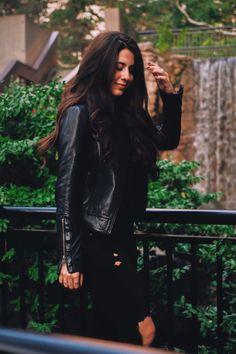 #leather #jacket #allblack #monochrome #minimal #leatherjacket #fashion #fallfashion #blogger #denim #ripped denim