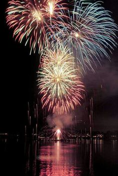 Fireworks over Lake Macatawa.  Kollen Park.  Holland Michigan. TULIP TIME 2013- spents so many summers here so many memories