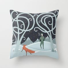 The #Fox and The Lost #Soldier #Cushion by Andy Hau - $20.00 #CushionCovers #Cushions #Foxes #Snow #Ice #Forest #Mountains #Cute #Interiors #SoftFurnishings #Love #Home #InteriorDesign #Illustration #Art